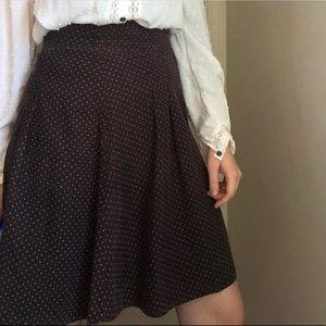 H&M Brown Polka Dot Corduroy Skirt
